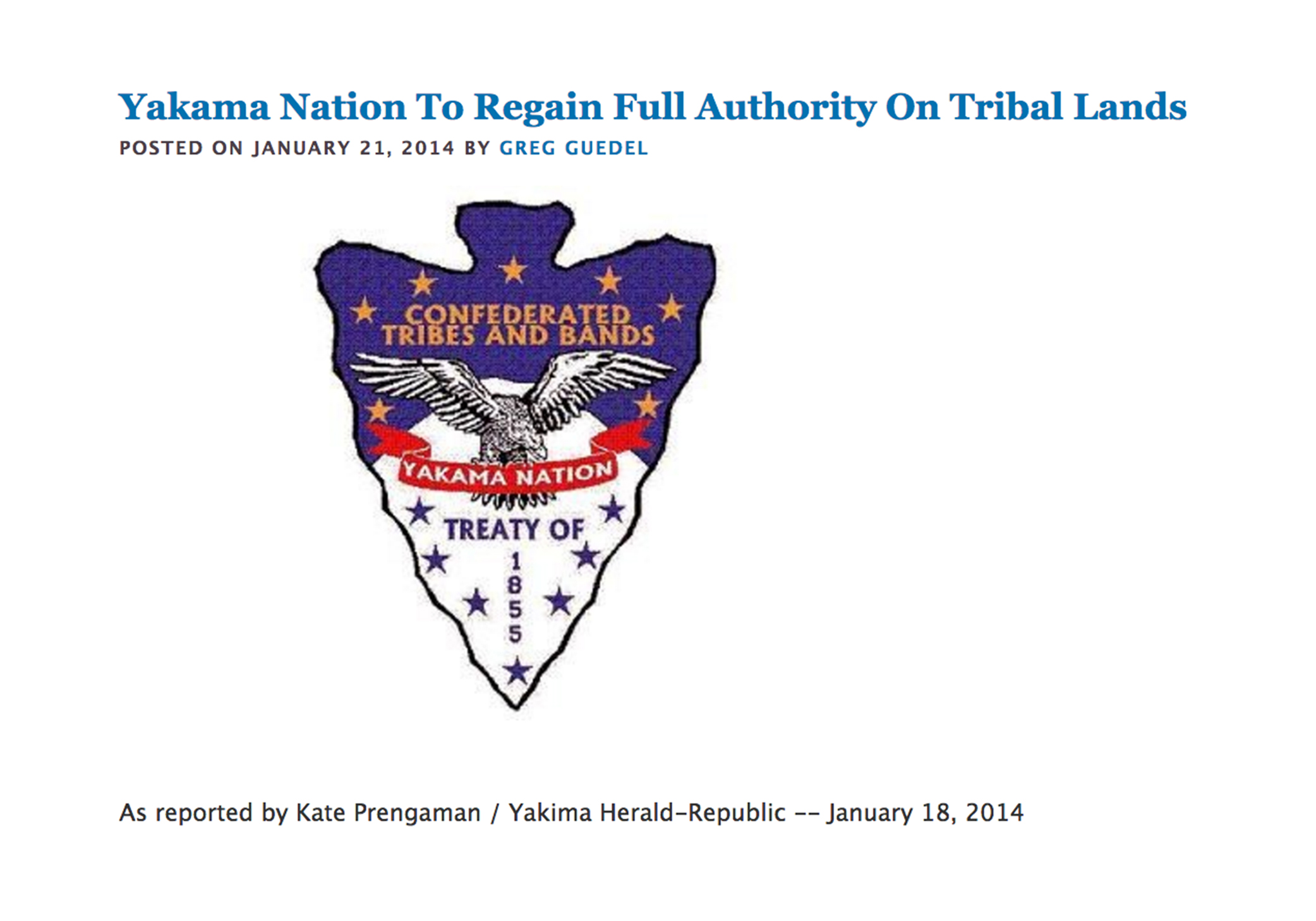 Yakama Nation To Regain Full Authority On Tribal Lands