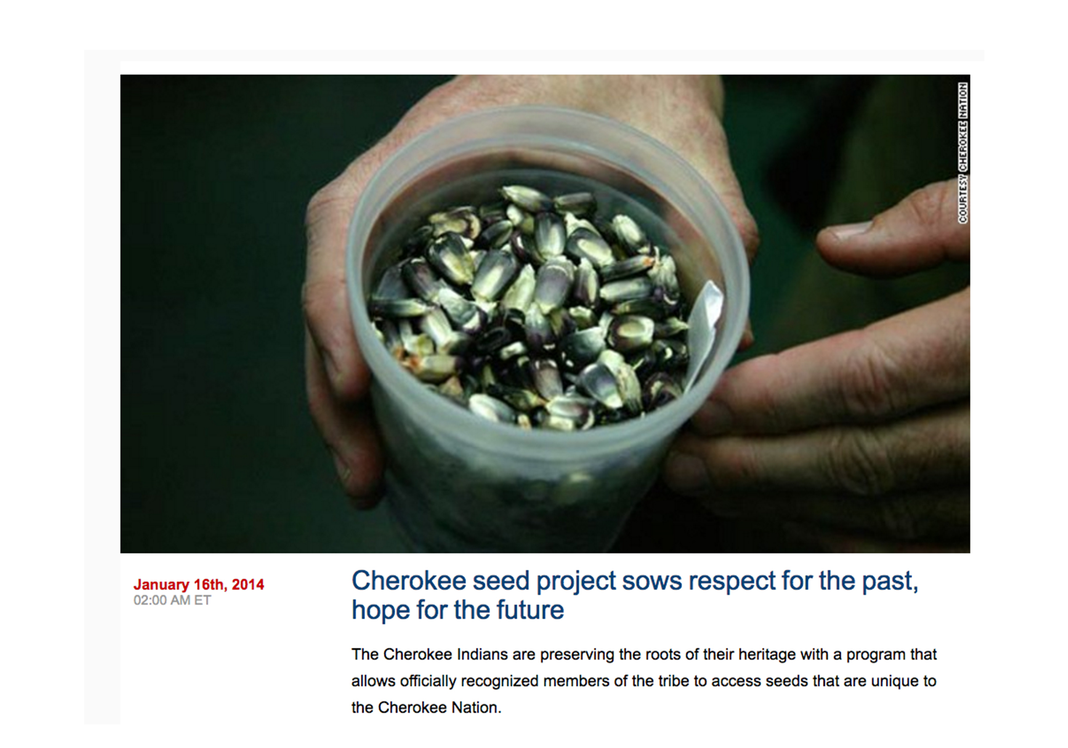 Cherokee seed project sows respect for the past, hope for the future