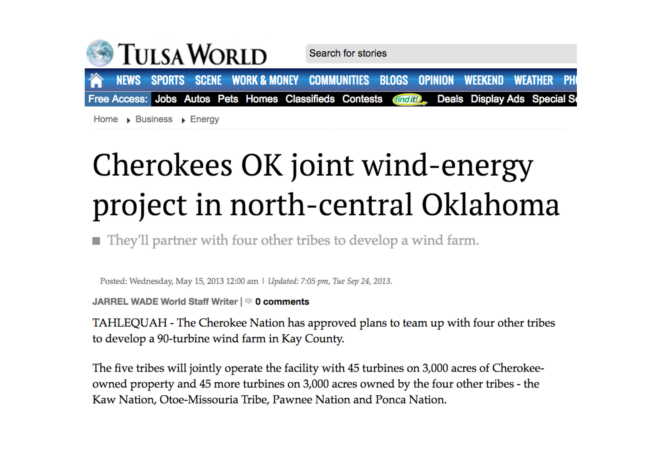 Cherokees OK joint wind-energy project in north-central Oklahoma