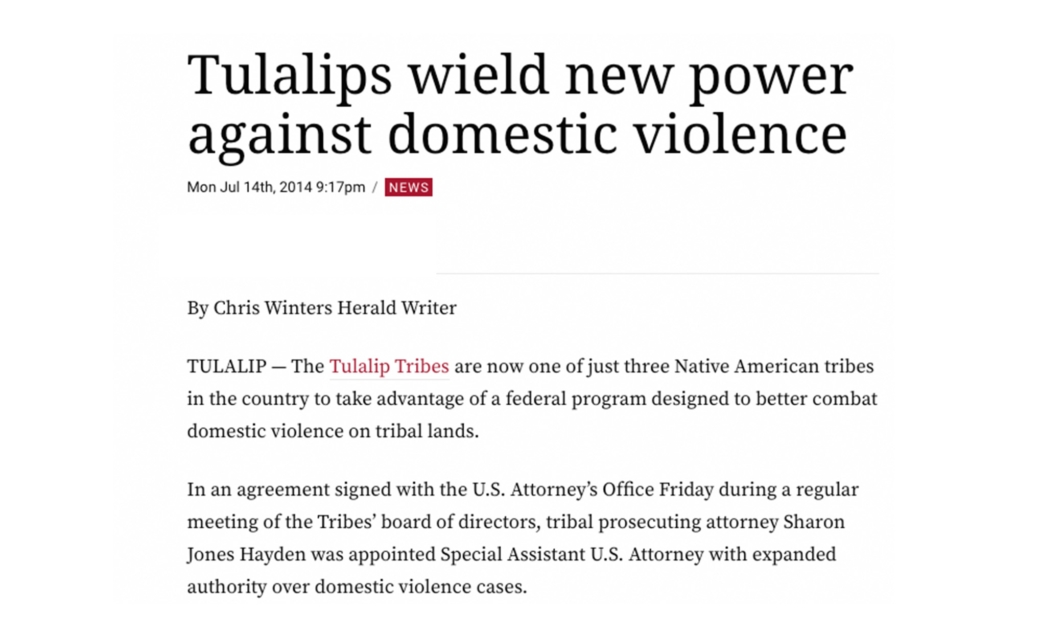 Tulalips wield new power against domestic violence
