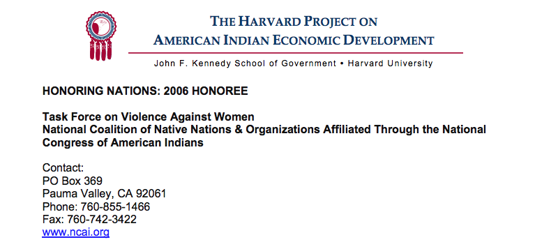 NCAI Task Force on Violence Against Women