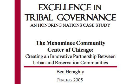 The Menominee Community Center of Chicago: Creating an Innovative Partnership Between Urban and Reservation Communities