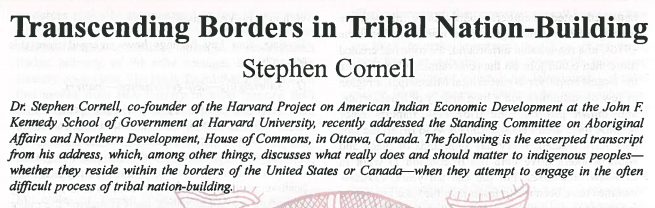 Transcending Borders in Tribal Nation-Building
