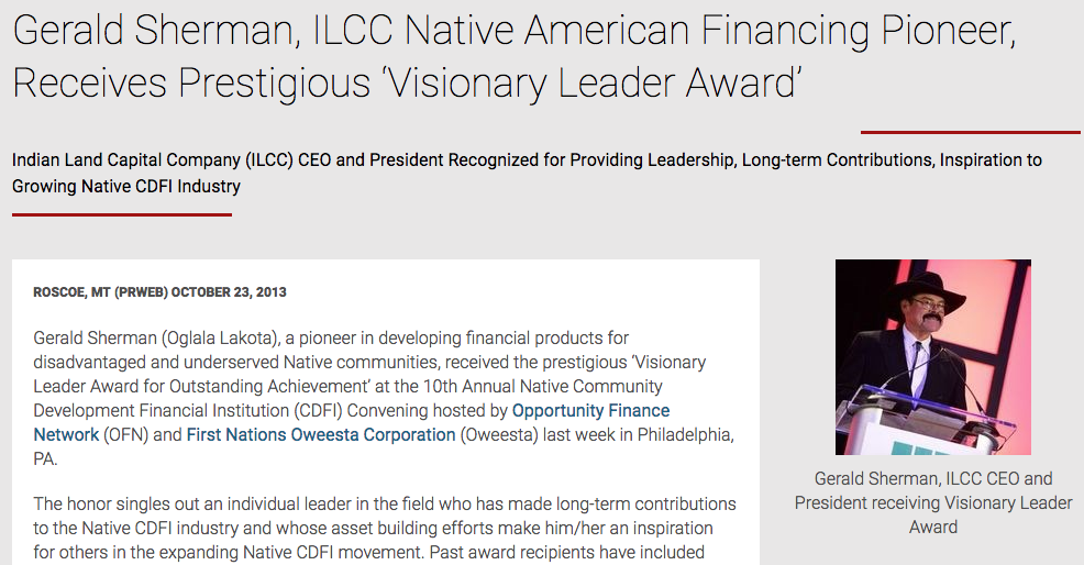 Gerald Sherman, ILCC Native American Financing Pioneer, Receives Prestigious 'Visionary Leader Award'