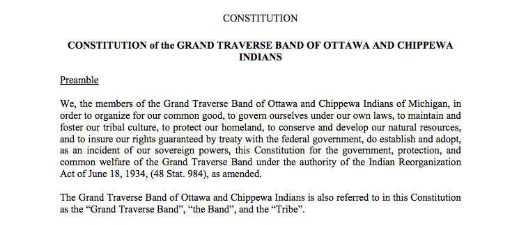 Grand Traverse Band of Ottawa and Chippewa Indians: Preamble Excerpt