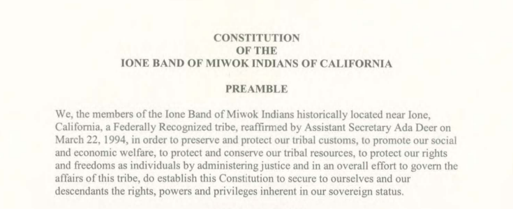 Ione Band of Miwok Indians: Judiciary Functions/Dispute Resolution Excerpt