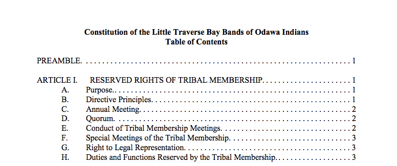 Little Traverse Bay Bands of Odawa Indians: Preamble Excerpt