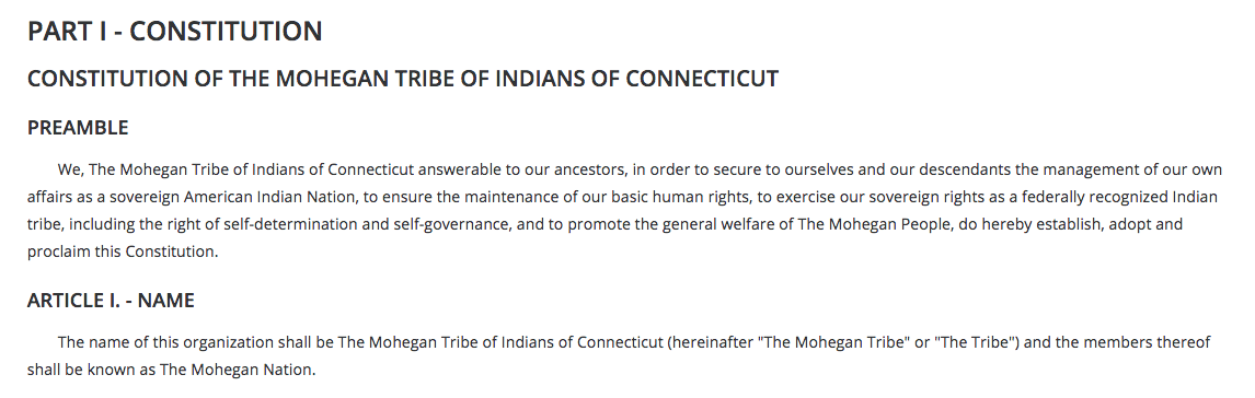 Mohegan Tribe: Legislative Functions Excerpt