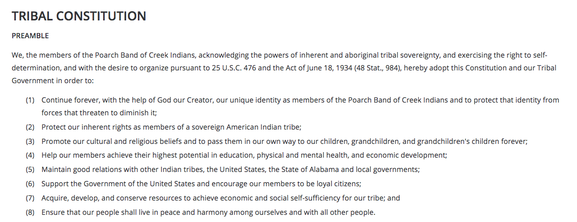 Poarch Band of Creek Indians: Preamble Excerpt