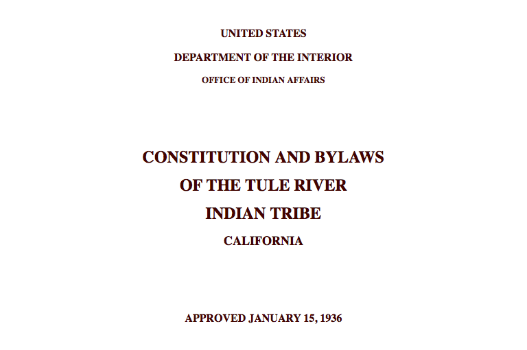 Tule River Indian Tribe: Citizenship Excerpt