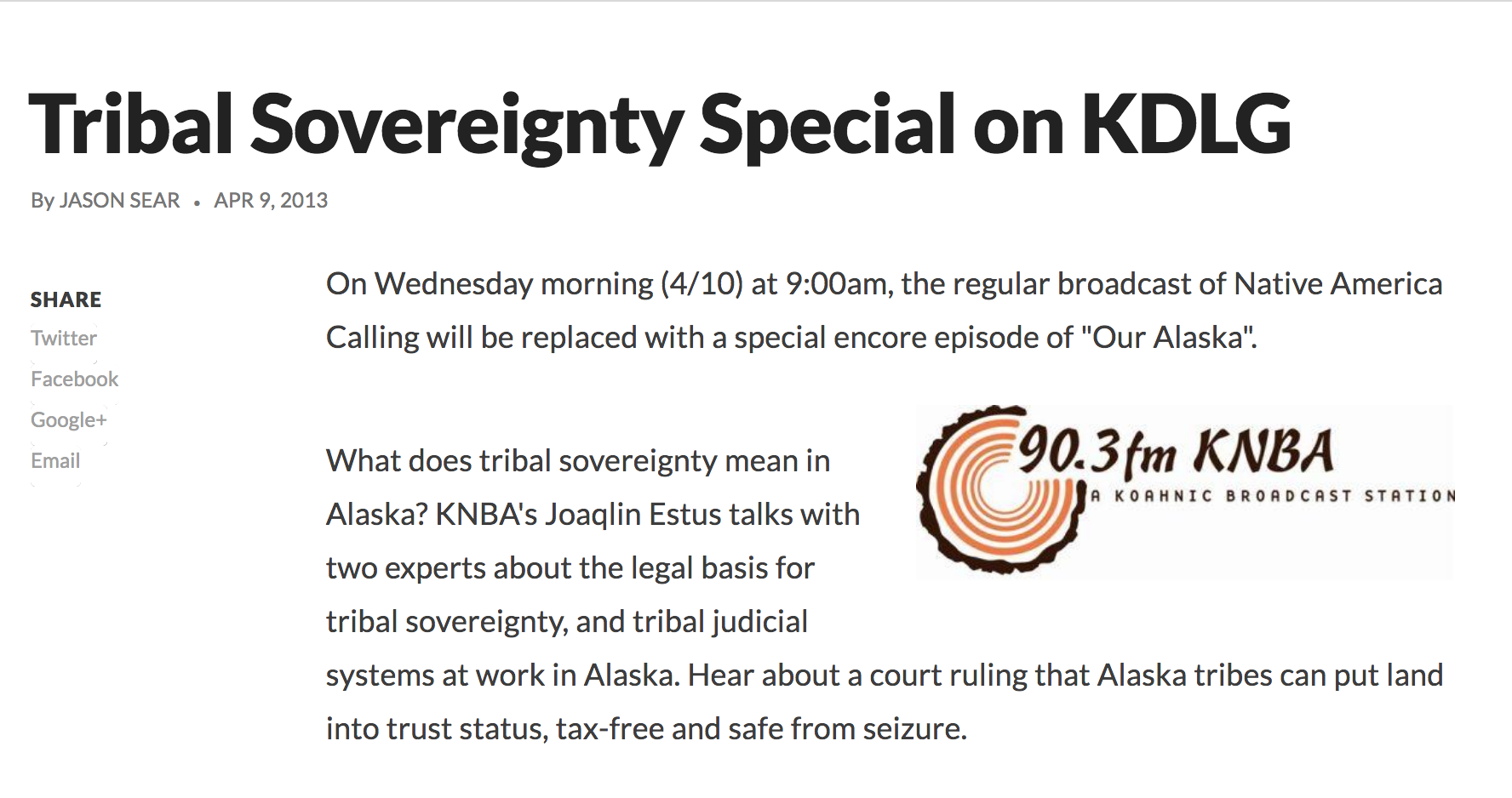 Tribal Sovereignty Special