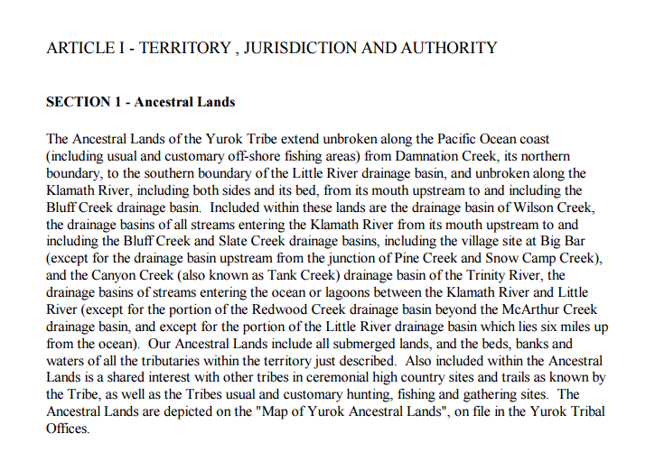 Yurok Tribe: Jurisdiction/Territory Excerpt