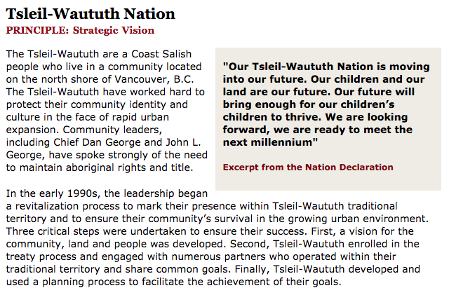 Best Practices Case Study (Strategic Vision): Tsleil-Waututh Nation