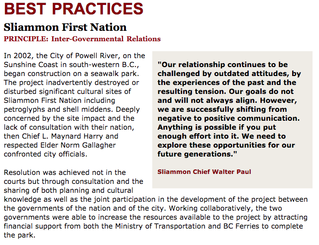 Best Practices Case Study (Inter-Governmental Relations): Sliammon First Nation
