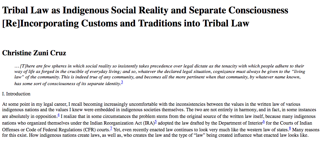 Tribal Law as Indigenous Social Reality and Separate Consciousness: [Re]Incorporating Customs and Traditions into Tribal Law