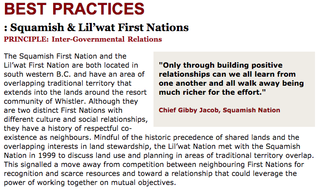 Best Practices Case Study (Inter-Governmental Relations): Squamish & Lil'wat First Nations