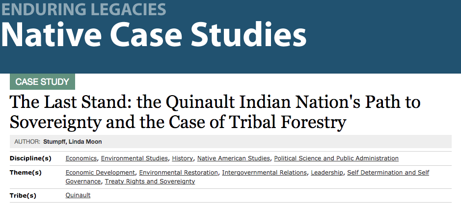The Last Stand: the Quinault Indian Nation's Path to Sovereignty and the Case of Tribal Forestry