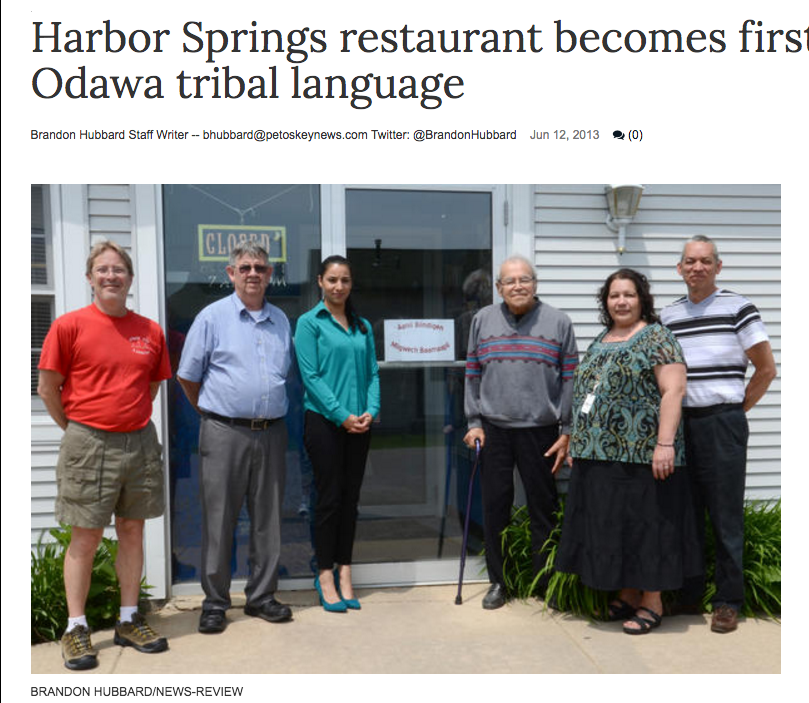 Harbor Springs restaurant becomes first to embrace Odawa tribal language