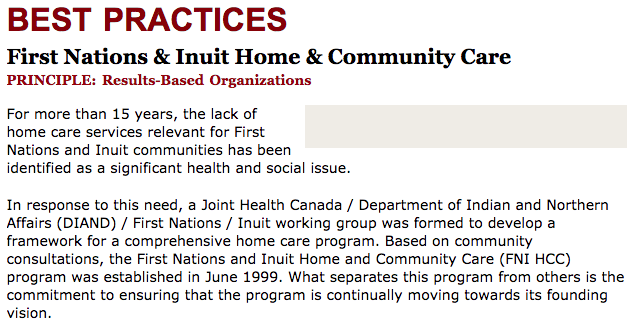 Best Practices Case Study (Results-Based Organizations): First Nations & Inuit Home & Community Care