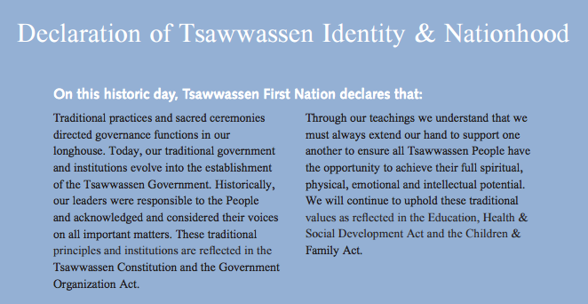 Declaration of Tsawwassen Identity & Nationhood