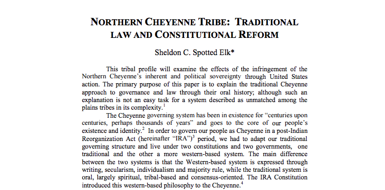 Northern Cheyenne Tribe: Traditional Law and Constitutional Reform