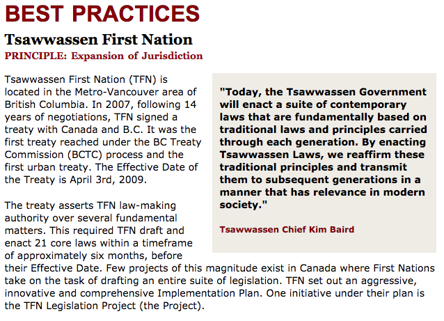 Best Practices Case Study (Expansion of Jurisdiction): Tsawwassen First Nation