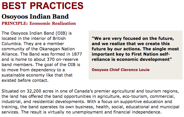 Best Practices Case Study (Economic Realization): Osoyoos Indian Band