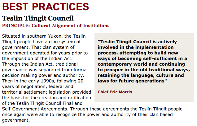 Best Practices Case Study (Cultural Alignment of Institutions): Teslin Tlingit Council