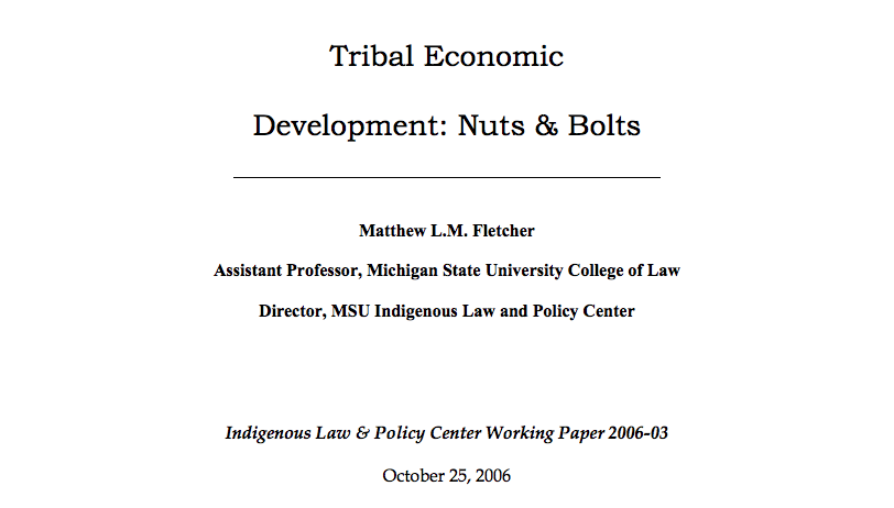 Tribal Economic Development: Nuts & Bolts