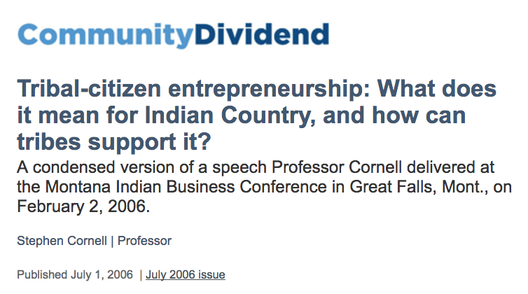 Tribal-citizen entrepreneurship: What does it mean for Indian Country, and how can tribes support it?