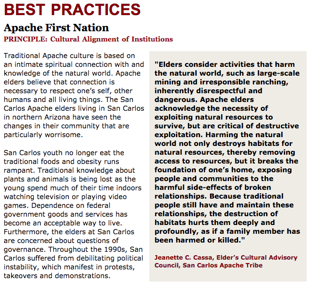 Best Practices Case Study (Cultural Alignment of Institutions): San Carlos Apache
