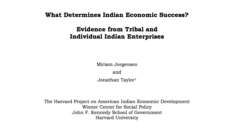 What Determines Indian Economic Success? Evidence from Tribal and Individual Indian Enterprises
