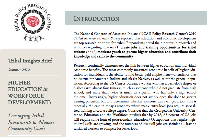Higher Education & Workforce Development: Leveraging Tribal Investments to Advance Community Goals