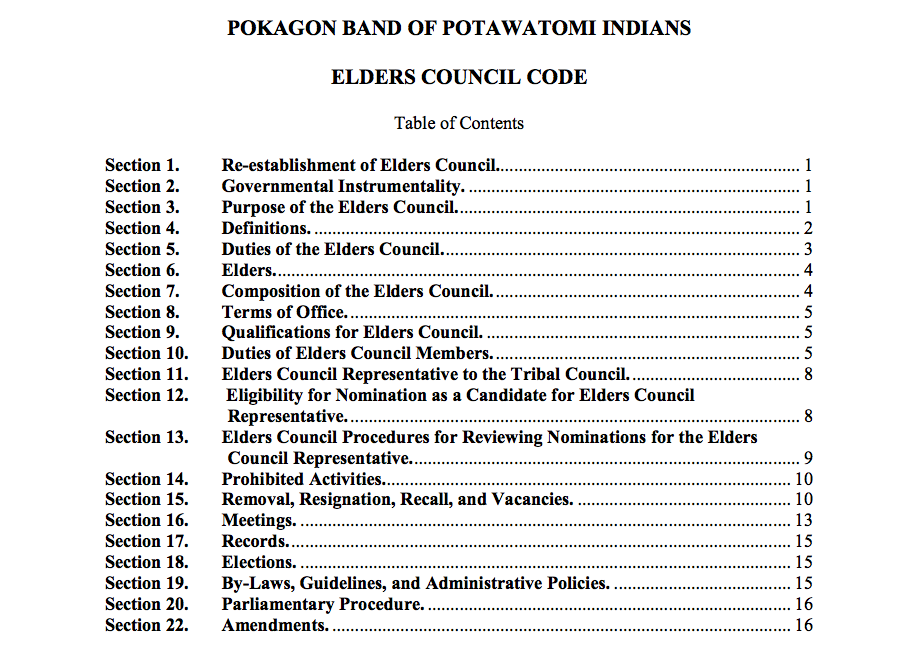 Pokagon Band of Potawatomi Indians: Elders Council Code