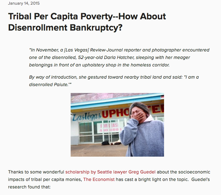 Tribal Per Capita Poverty–How About Disenrollment Bankruptcy?