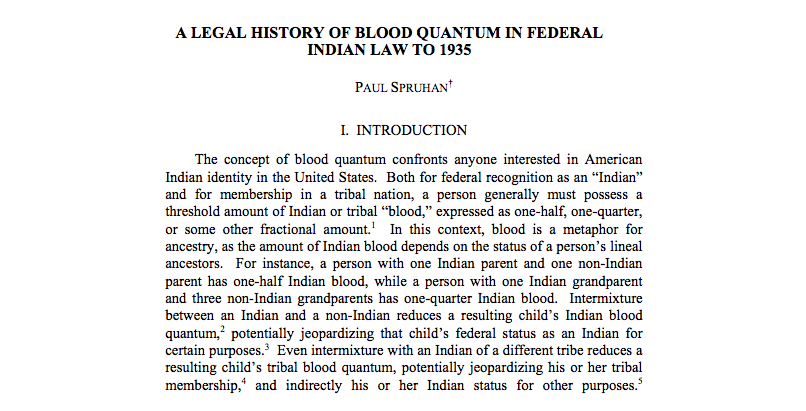 A Legal History of Blood Quantum in Federal Indian Law to 1935