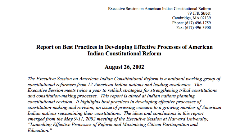 Report on Best Practices in Developing Effective Processes of American Indian Constitutional Reform
