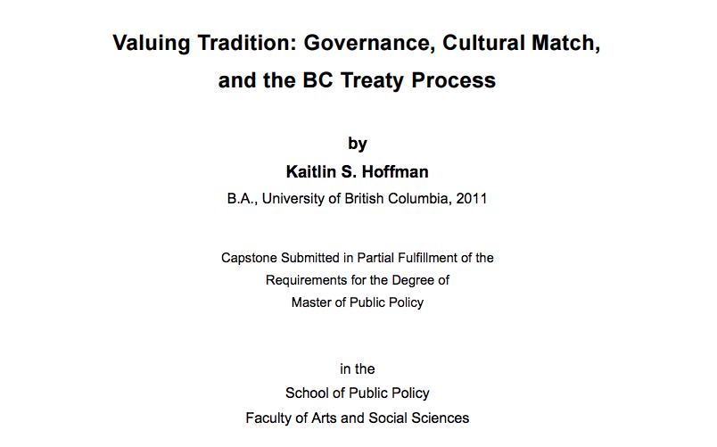 Valuing Tradition: Governance, Cultural Match, and the BC Treaty Process