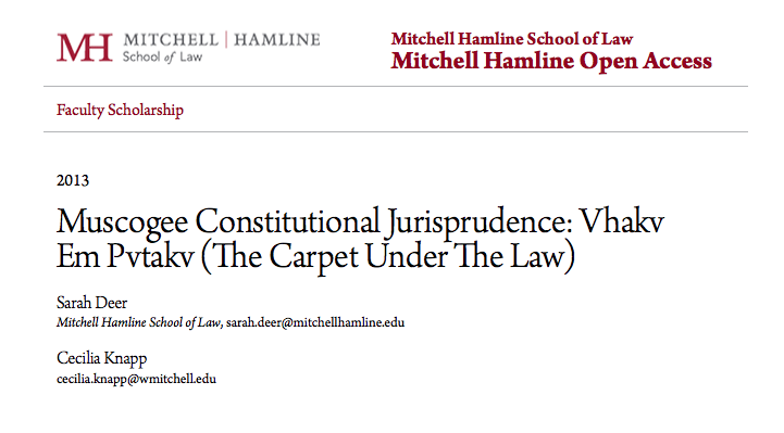 Muscogee Constitutional Jurisprudence: Vhakv Em Pvtakv (The Carpet Under The Law)