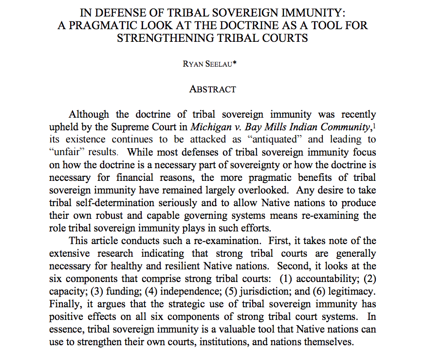 In Defense of Tribal Sovereign Immunity: A Pragmatic Look at the Doctrine as a Tool for Strengthening Tribal Courts