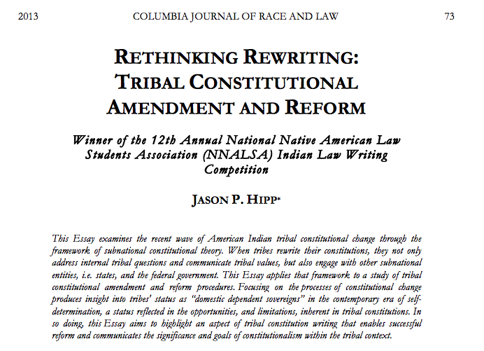 Rethinking Rewriting: Tribal Constitutional Amendment and Reform