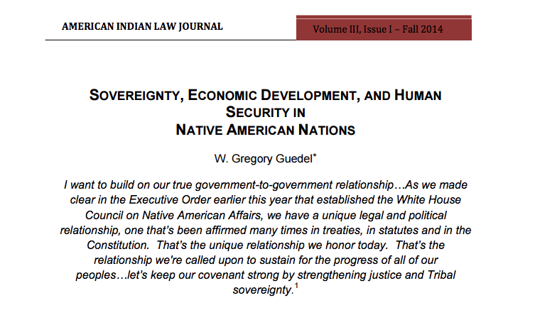 Sovereignty, Economic Development, and Human Security in Native American Nations
