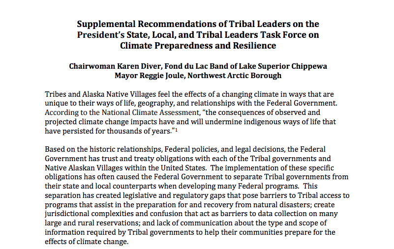 Supplemental Recommendations of Tribal Leaders on the President's State, Local, and Tribal Leaders Task Force on Climate Preparedness and Resilience