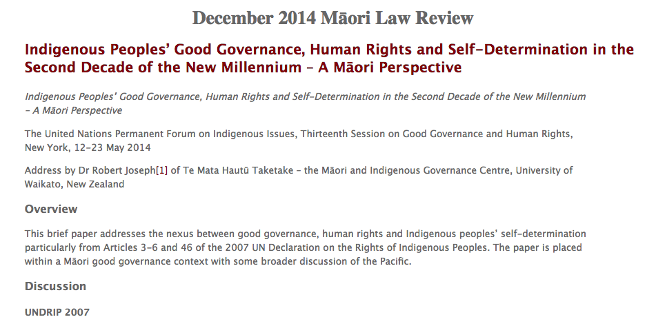 Indigenous Peoples' Good Governance, Human Rights and Self-Determination in the Second Decade of the New Millennium – A M?ori Perspective