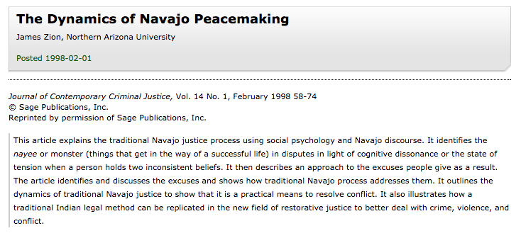 The Dynamics of Navajo Peacemaking
