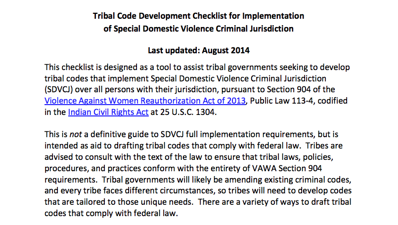 Tribal Code Development Checklist for Implementation of Special Domestic Violence Criminal Jurisdiction