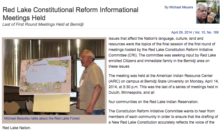 Red Lake Constitutional Reform Informational Meetings Held
