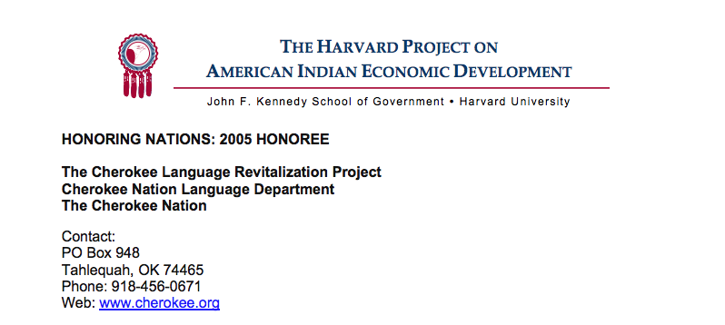 Cherokee Language Revitalization Project