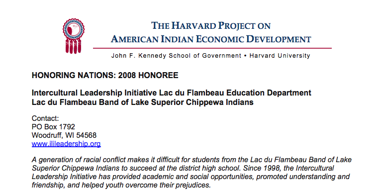 Lac du Flambeau's Intercultural Leadership Initiative