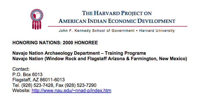 Navajo Nation Archaeology Department – Training Programs